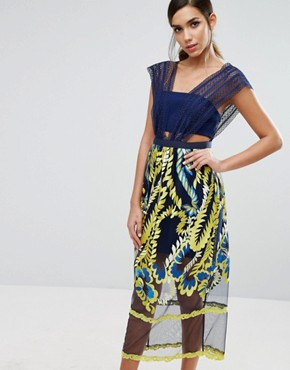 photo Midi Dress with Embroided Skirt by Three Floor, color  - Image 1