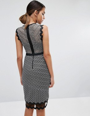 photo Midi Pencil Dress in Contrast Lace with Piping by Three Floor, color  - Image 2