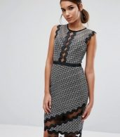 photo Midi Pencil Dress in Contrast Lace with Piping by Three Floor, color  - Image 1