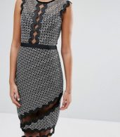 photo Midi Pencil Dress in Contrast Lace with Piping by Three Floor, color  - Image 3