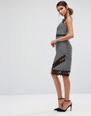 photo Midi Pencil Dress in Contrast Lace with Piping by Three Floor, color  - Image 4