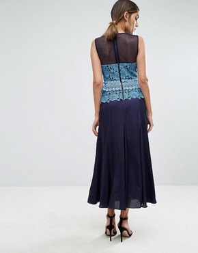 photo Pleated Midi Dress with Contrast Lace Detail by Three Floor, color Blue - Image 2