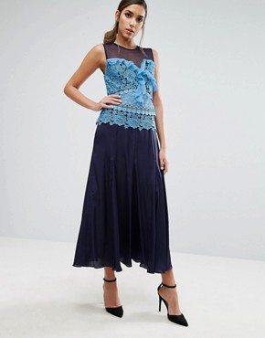 photo Pleated Midi Dress with Contrast Lace Detail by Three Floor, color Blue - Image 1
