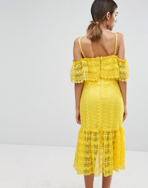 photo Cold Shoulder Midi Lace Dress by Three Floor, color Yellow - Image 2