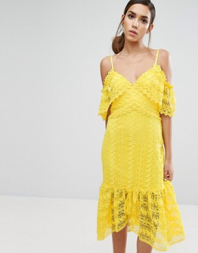 photo Cold Shoulder Midi Lace Dress by Three Floor, color Yellow - Image 1
