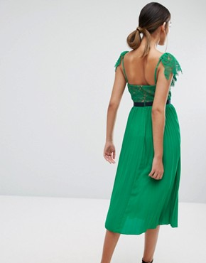 photo Midi Dress with Pleated Skirt and Frill Detail by Three Floor, color Green - Image 2