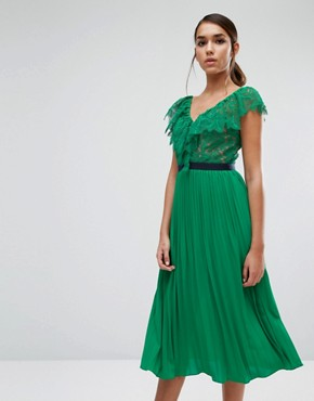 photo Midi Dress with Pleated Skirt and Frill Detail by Three Floor, color Green - Image 1
