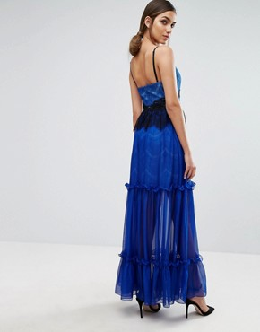 photo Tiered Maxi Dress with Lace Detail by Three Floor, color Blue - Image 2