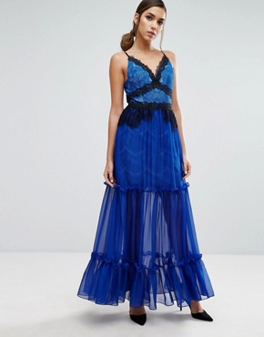 photo Tiered Maxi Dress with Lace Detail by Three Floor, color Blue - Image 1