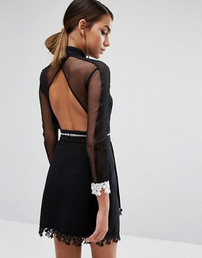 photo Mini Dress in Contrast Lace with 3/4 Sleeve by Three Floor, color Black - Image 2