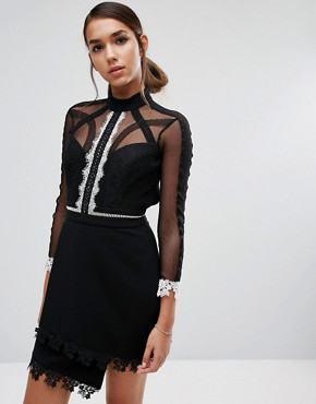 photo Mini Dress in Contrast Lace with 3/4 Sleeve by Three Floor, color Black - Image 1