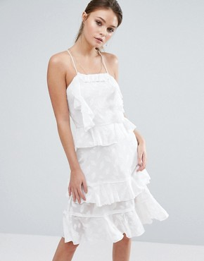 photo Burn Out Leaf Mini Dress with Ruffles and Strappy Back by Dark Pink, color White - Image 2