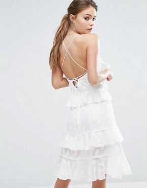 photo Burn Out Leaf Mini Dress with Ruffles and Strappy Back by Dark Pink, color White - Image 1
