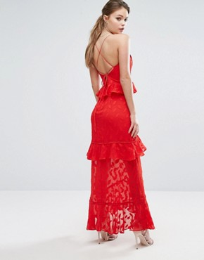photo Burn Out Leaf Maxi Dress with Ruffle Detail by Dark Pink, color Red - Image 2