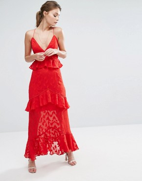 photo Burn Out Leaf Maxi Dress with Ruffle Detail by Dark Pink, color Red - Image 1