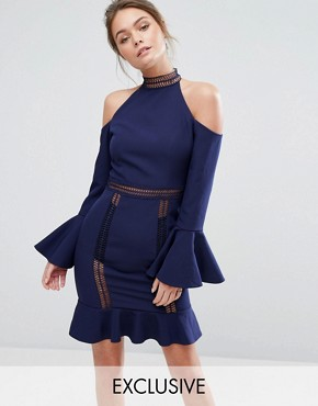 photo High Neck Cold Shoulder Dress with Frill Sleeves by Dark Pink, color Navy - Image 1