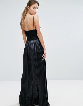photo Lace Top Maxi Dress with Pleated Skirt by Dark Pink, color Black - Image 2