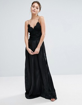photo Lace Top Maxi Dress with Pleated Skirt by Dark Pink, color Black - Image 1