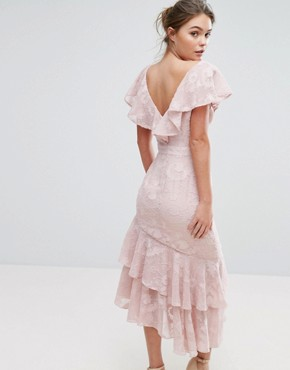 photo Burn Out Midi Dress with Ruffle Sleeve and Hem by Dark Pink, color Oyster Pink - Image 2