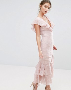 photo Burn Out Midi Dress with Ruffle Sleeve and Hem by Dark Pink, color Oyster Pink - Image 1