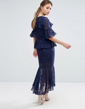 photo Burn Out Tiered Midi Dress with Lace Inserts by Dark Pink, color Navy - Image 2