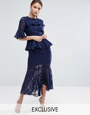 photo Burn Out Tiered Midi Dress with Lace Inserts by Dark Pink, color Navy - Image 1
