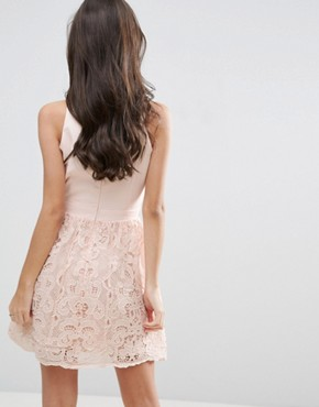 photo Scallop Skater Dress with Crochet Lace Skirt by Little Mistress Petite, color Nude - Image 2