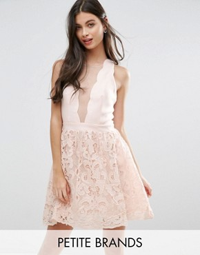 photo Scallop Skater Dress with Crochet Lace Skirt by Little Mistress Petite, color Nude - Image 1