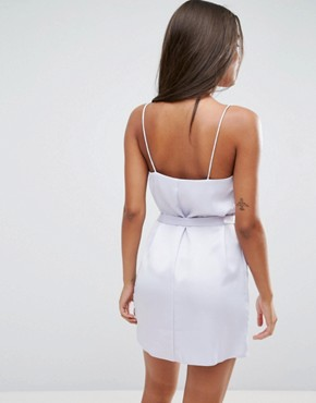 photo Satin Mini Slip Dress With Tie Waist by ASOS, color Lilac - Image 2