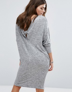 photo Knot Back Detail Jersey Dress by Pull&Bear, color Grey - Image 1