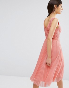 photo Lace Pleated Midi Dress by Oasis, color Blush - Image 2