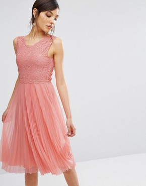 photo Lace Pleated Midi Dress by Oasis, color Blush - Image 1