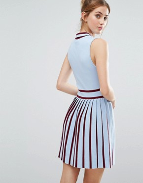 photo Knitted Dress with Pleated Skirt by The English Factory, color Powder Blue/Burgundy - Image 2