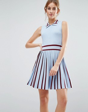 photo Knitted Dress with Pleated Skirt by The English Factory, color Powder Blue/Burgundy - Image 1