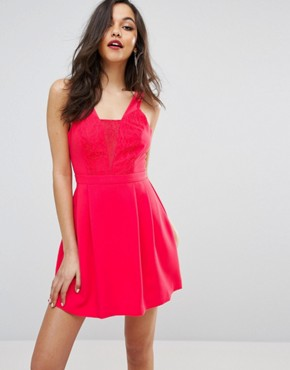 photo Embroidered Chest Skater Dress by BCBG Max Azria, color Bright Coral - Image 1