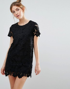 photo Crochet Shift Dress by The English Factory, color Black - Image 1