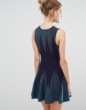 photo Knitted Dress With Pleated Skirt by The English Factory, color Navy/Turquoise - Image 2