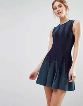 photo Knitted Dress With Pleated Skirt by The English Factory, color Navy/Turquoise - Image 1