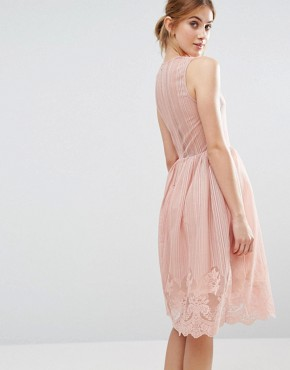 photo Overlay Dress by The English Factory, color Nude Pink - Image 2