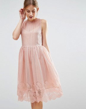 photo Overlay Dress by The English Factory, color Nude Pink - Image 1