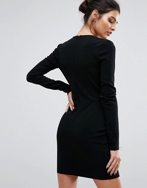 photo Warriors Keeper Long Sleeve Plunge Dress by Bec & Bridge, color Black - Image 2