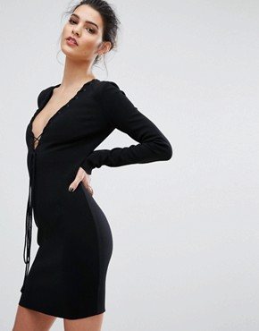 photo Warriors Keeper Long Sleeve Plunge Dress by Bec & Bridge, color Black - Image 1