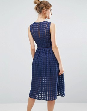 photo Mesh Overlay Midi Dress by The English Factory, color Navy - Image 2