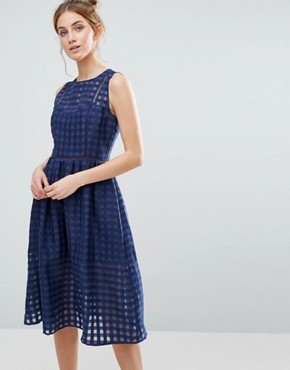 photo Mesh Overlay Midi Dress by The English Factory, color Navy - Image 1