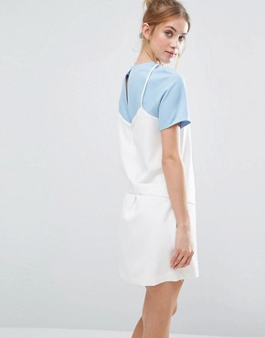 photo Two Layer Dress by The English Factory, color Powder Blue/Ivory - Image 2