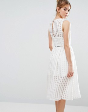 photo Mesh Overlay Midi Dress by The English Factory, color White - Image 2
