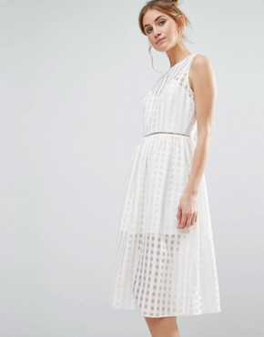 photo Mesh Overlay Midi Dress by The English Factory, color White - Image 1