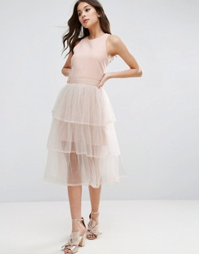 photo 3 Tier Mesh Dress by The English Factory, color Nude - Image 1