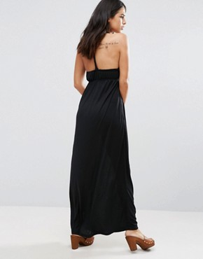 photo Racer Back Maxi Dress with Embroidered Neck Detail by Jasmine, color Black - Image 2