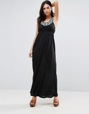 photo Racer Back Maxi Dress with Embroidered Neck Detail by Jasmine, color Black - Image 1